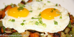 Fried sweet and russet with onion pepper eggs 2